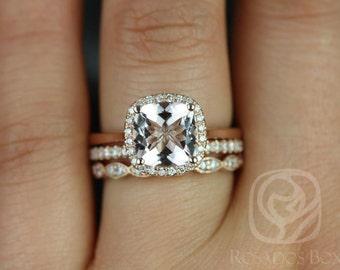 Rosados Box Roxie 8mm & Christie 14kt Rose Gold Cushion Morganite and Diamonds Halo TRIO Wedding Set