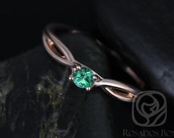 Rosados Box Erika 3.5mm 14kt Rose Gold Round Rainforest Green Topaz Double Twist Engagement Ring