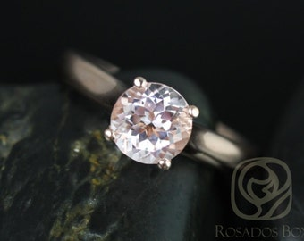 Hannah 7mm 14kt Rose Gold Round Morganite Cathedral Solitaire Engagement Ring (Other metals and stone options available)