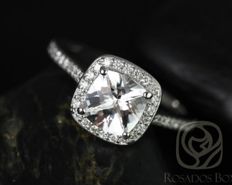 Hollie 7mm 14kt White Gold Cushion White Topaz and Diamonds Halo Engagement Ring (Other metals and stone options available)