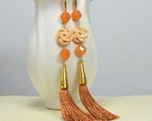 Orange brown silk tassel earrings Long tassel earrings Boho carved bone bead earring Long dangle earring Asian style tassle hippie earring