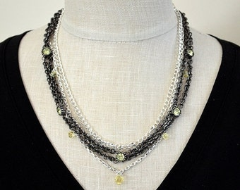 ON SALE Mixed metal layered necklace with yellow Swarovski crystal Black multistrand layered chain necklace Office beaded jewelry