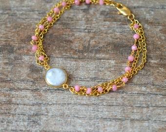 Pink gemstone bracelet Coin pearl bracelet Chalcedony beaded rosary chain bracelet Cuff bracelet Multistrand bracelet Multi layer bracelet