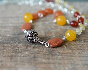 Assymetric extra long necklace Orange carnelian yellow jade beaded chain necklace Ornate Bali silver Office business casual stone jewelry