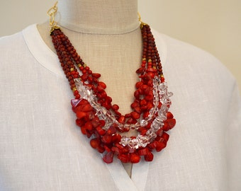 Multi strand coral necklace Big bold chunky necklace Layered red coral quartz crystal necklace Statement necklace Summer fashion jewelry