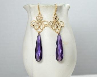 Matte gold chandelier earrings Long CZ earrings Crystal teardrop earrings Dressy gold filigree earrings Purple cubic zirconia earrings