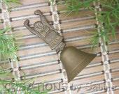 Small Brass Buddha Bell Tibetan Buddhist Buddhism Design Raised Arms Up Gold Tone Metal Lightweight Simple Vintage FREE SHIPPING (453)