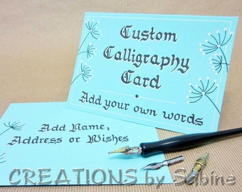 Custom Calligraphy Card, Handwritten Personalized Original Art Greeting Card / hand drawn / Custom Card Order / Turquoise Beige White