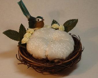 Birds Nest Pincushion in Cream with Blue Bird