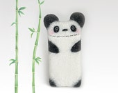 Felt Panda Bear case for iPod 5, for iPhone 4/ 5/ 6, for Samsung Galaxy S4/ S5/ S6/ S7, white-black, panda phone case, eco-friendly