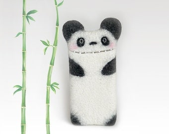 Felt Panda Bear case for iPod 5, for iPhone 4/ 5/ 6, for Samsung Galaxy S4/ S5/ S6, white-black, panda phone case, eco-friendly