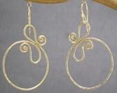Hammered swirl hoop earrings Nouveau 162