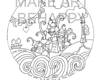 Instant download coloring page mandala on A4 doodle