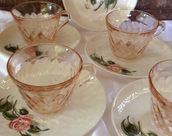Vintage BALLERINA CHINA Saucers with Pink Depression Glass Cups Jeanette Windsor Pattern Pink Red Roses Dainty Tea Party Decor Cottage Chic