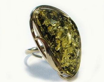 Natural Baltic green amber ring.