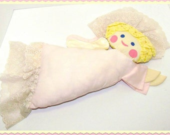 "Vintage Handmade Angel for Your Bed, YoYo Hair, Hand Painted Face, Lace Halo, 24"" long"