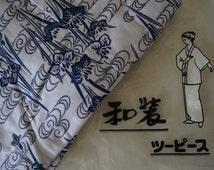 Japanese nemaki, two piece, kimono style, cotton robe, jacket and skirt, sleep-wear, M size