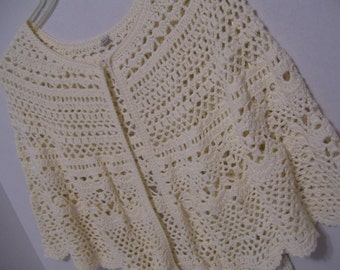 DKNY Crochet Cape Vest Ivory Size Medium