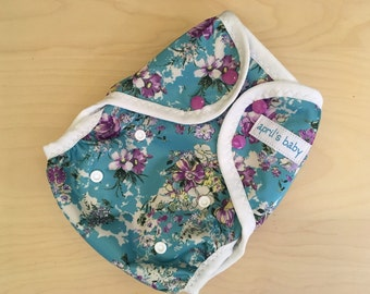 One size PUL cloth diaper cover - Flup style cover, summer floral
