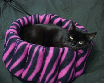 Cat bed, dog bed, pet bed, pink bed, zebra cat bed, hot pink pet bed, zebra dog bed, hot pink cat bed, hot pink dog bed