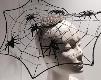 Spider Web Fascinator- Halloween Headband- witch hat-Spider Web Costume-Black widow-Black Fascinator_ Made in USA-Halloween