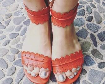 SALE. Sz. 9. MIDSUMMER. Leather sandals  / women shoes /  leather shoes / flat shoes / tan leather.