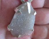Druzy Agate Silver Pendant - Large Stone Rustic Pendant - Artistic jewelry