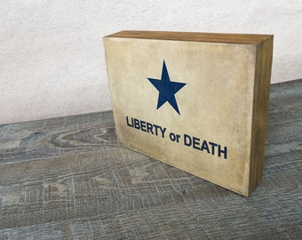 Vintage Liberty or Death flag Art Mounted Print -  Wood Block Wall Decor