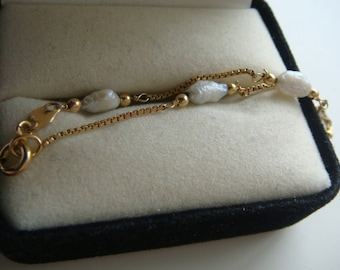 14k Italy Gold and Pearl Bracelet