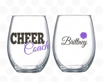 Cheer coach gift - Cheer coach wine glass - Cheerleading coach gifts -  cheerleading gifts - Stemless wine glass