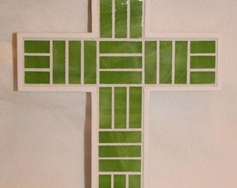 Lime Green Glass Mosaic Cross