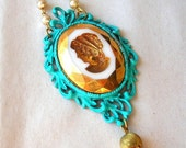 SALE Large Left Facing Cameo Necklace - Vintage Style Necklace - Unique Cameo Necklace - One of a Kind Necklace - Handmade Necklace