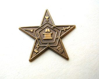 Vintage Brass Mason Star - Solid Brass Freemasons Findings - Vintage Masonic Star - Flat Back