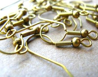 Raw Brass Earring Wires - 12 Pairs of Earring Wires - Earring Supplies - Earring Hooks - Brass Findings