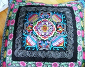 SALE BOHEMIAN Vintage 1990s Embroidered Square Mexican Pillow Sham Cover,  Mexican Decor, Boho Chic