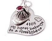 Personalized My Heart Belongs To a Firefighter - Hand Stamped Steel Heart Necklace - Fireman - Firehat - Firefighter Necklace - Anniversary