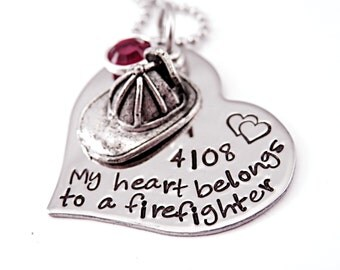 Personalized My Heart Belongs To a Firefighter - Engraved Steel Heart Necklace - Fireman - Firehat - Firefighter Necklace - Anniversary
