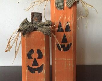 Wood Jack-o-lanterns, Wood Fall Pumpkin Block set - Seasonal Home Decor for fall, halloween and decorating, fall decor, halloween decor
