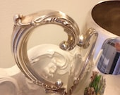 Vintage silver water pitcher vintage shabby chic silver serving piece vintage wedding table  silver plate pitcher by herminas cottage