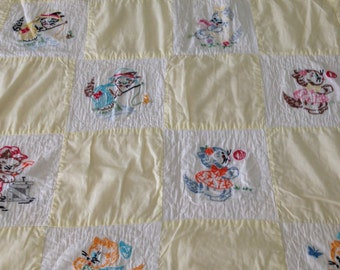 Vintage embroidered baby blanket kitten cottage blanket shabby chic childs patchwork blanket