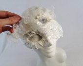 Veiled By Lace Bridal Wedding Masquerade Mask Steampunk Feather White Cream Half Face Asymetrical Fabric Burlesque Halloween