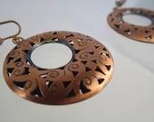 Vintage Copper Dange Hoop Screw On Earrings Dapping Dapped Retro 60s Swirling Cut out Design