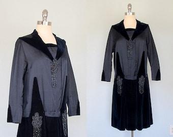 1920s Dress, 1920s Flapper Dress, Art Deco Dress, Royal Navy Blue, Velvet Dress, Beaded Dress, Vintage Flapper Dress