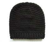 Basic Slouchy Beanie Hat, Mens Women Unisex Hand Knit Crochet Hat, Chunky Winter Wool- Black