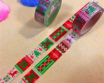 Christmas Theme DIY Scrapbbok Japanese Paper Adhesive Tape, Washi tape, Colorful, 15mm, 5m/roll