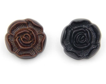 6 Pcs 0.51~0.98 Inches Brown/Black Rose Flower Imitation leather Plastic Shank Buttons For Coats