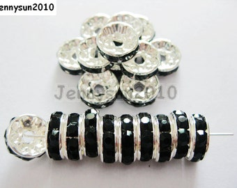 100pcs Top Quality Jet Black Czech Crystal Rhinestones Silver Rondelle Spacer Beads 4mm 5mm 6mm 8mm 10mm