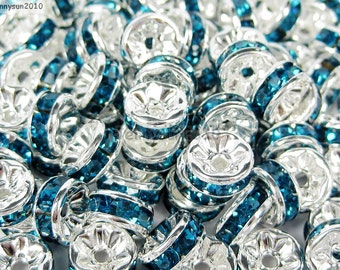 100pcs Top Quality Blue Zircon Topaz Czech Crystal Rhinestones Silver Rondelle Spacer Beads 4mm 5mm 6mm 8mm 10mm