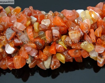 Natural Carnelian Gemstone 5-8mm Freeformed Chip Beads 35''  Great For Jewelry Design