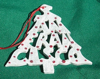 San Francisco, handcrafted tree shaped ornament
